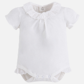Mayoral Baby Girl Short Sleeve Onesie with Lace Collar