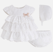 Mayoral Baby girl Ruffle Dress with Bonnet