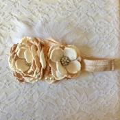 White FOE Headband w/Mocha Satin Flowers/Ostrich Feather