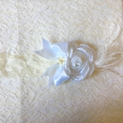 White Lace Headband w/Satin Rose/Satin Bow/Ostrich Feather