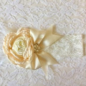 White Lace Headband w/Ivory Satin Rose/Satin Bow/Ostrich Feather