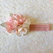 Blush Embroidered Headband w/Flowers/Rhinestone Leaves