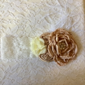 White Lace Headband w/Mocha Satin Roses/Ostrich Feather
