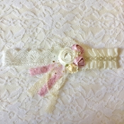 White Lace Headband w/Flowers/Lace/Pearls