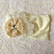 Ivory Headband w/Crochet Flower/Lace