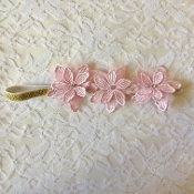 Gold Sparkle Headband w/Pink Crochet Flowers