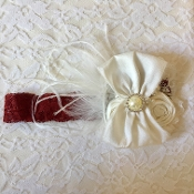 Burgandy Lace Headband w/Ivory Rose/Bow/Crochet/Pearl Center