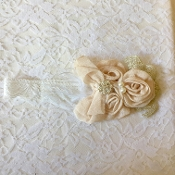 White Lace Headband w/Gold Crochet/Mocha Flowers/Pearls