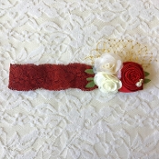 Burgandy Lace Headband w/Red/Ivory Roses/Gold Birdcage Veil