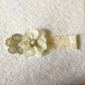 Ivory Lace Headband w/Flower/Rhinestone Applique