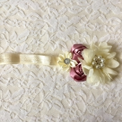 Ivory FOE Headband w/Ivory Tulle Flower/Mauve Satin Rose