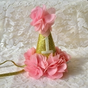 Gold Glitter 1st Birthday Hat w/Blush Trim