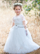 Lace Illusion neckline Flower Girl Dress