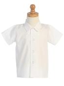 Boy's White Short Sleeve Shirt