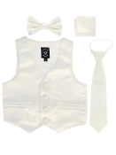 Boy's Satin Vest with Zipper Tie and Bowtie