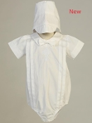 Cotton romper with embroidered celtic cross and hat
