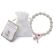 PEARL AND ROSE COMMUNION STRETCH BRACELET