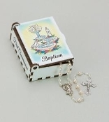 Baptismal Wood Keepsake Box with Pearl Rosary