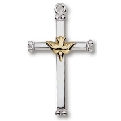 Sterling Silver Cross with Dove 18in Chain