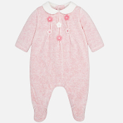 Mayoral Baby girl Velour pyjamas with flowers