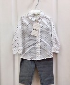 EMC 2pc White Patterned Dress Shirt/Pant Set