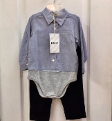 EMC Boys 2pc Striped Shirt Onesie/Navy Pant Set