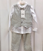 EMC 4pc White Dress Shirt/Flannel Pant/Vest/Tie Set