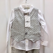 EMC 3pc White Dress Shirt w/Tie/Patterned Vest Set