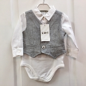 EMC 2pc White Dress Shirt Onesie/Grey Flannel Vest Set