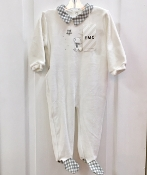 EMC Velour Footie w/Check Collar/Bear Applique