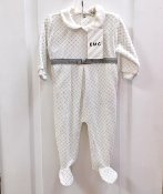 EMC Velour Ivory Patterned Footie w/Sillver Bow Waist
