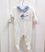 EMC Velour Footie w/Blue Collar/Bear on Star Applique
