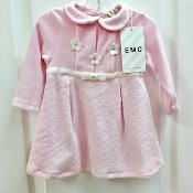 EMC Pink Velour Dress w/White Bow Waistband/Flower Applique