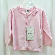 EMC Pink Knit Sweater w/Sparkle Buttons/Rhinestone Heart