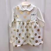 EMC 2pc Ivory w/Gold P.Dot Dress/Ivory Long Sleeve Onesie