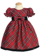 Girls Plaid Dress with Velvet Trim