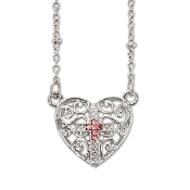 Silver Plated Heart w/Pink Crystal Stone w/Chain