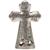 """Do All Things With Love"" Mini Tabletop Cross - Precious Moments"