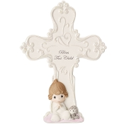 """Bless This Child"" Bisque Porcelain Cross Girl- Precious Moments"