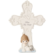 """Bless This Child"" Bisque Porcelain Cross Boy- Precious Moments"