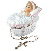 Baptized In His Name Trinket Box/Rosary -Girl - Precious Moments
