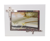 6x4 MDF WHITE WOOD FRAME-CONFIRMATION WITH CROSS