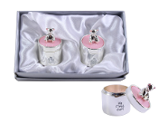 SILVER PLATED BEAR TOP TOOTH AND CURL SET-PINK