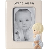 """Jesus Loves Me"" Ceramic Photo Frame, Boy - Precious Moments"