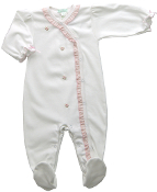 Little Threads White Brielle Pima Cotton Footie with Pink Trim