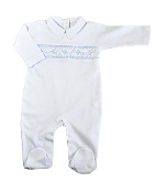 Little Threads Pima Cotton Hand Smocked white Pima Cotton Footie