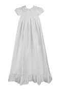 Off White Dupioni Silk Christening Gown