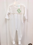 Little Threads White Smocked Pima Cotton Footie with Beige Trim