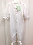Little Threads White Pima Cotton Footie with Trim