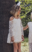 M&B Fashion Ivory Crochet Off Shoulder Dress